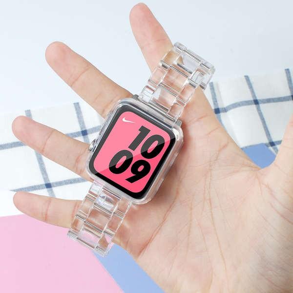 สาย applewatch เหมาะสำหรับ Apple Watch รุ่นที่ 6 iwatch glacier เยลลี่สายรัด applewatch ใส 3/4 / SE / 5 ธารน้ำแข็งน้ำแข็