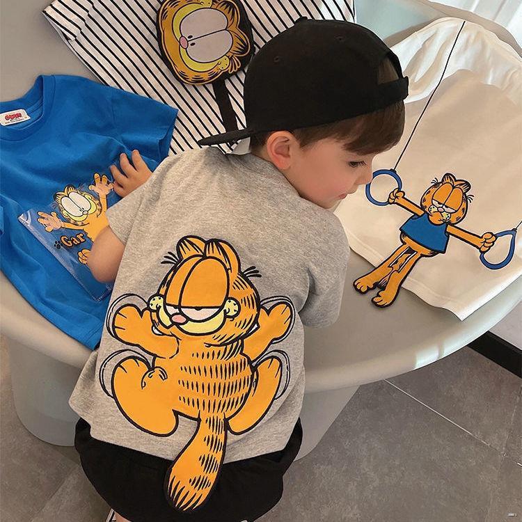 ยางยืดออกกําลังกาย✿✕◑(เสื้อผ้าเด็ก)  ผ้าฝ้ายแท้เด็กฤดูร้อนเสื้อยืดคอกลมปักการ์ฟิลด์การ์ตูนสามมิติ 2021 ใหม่สนุกแขนสั้นน