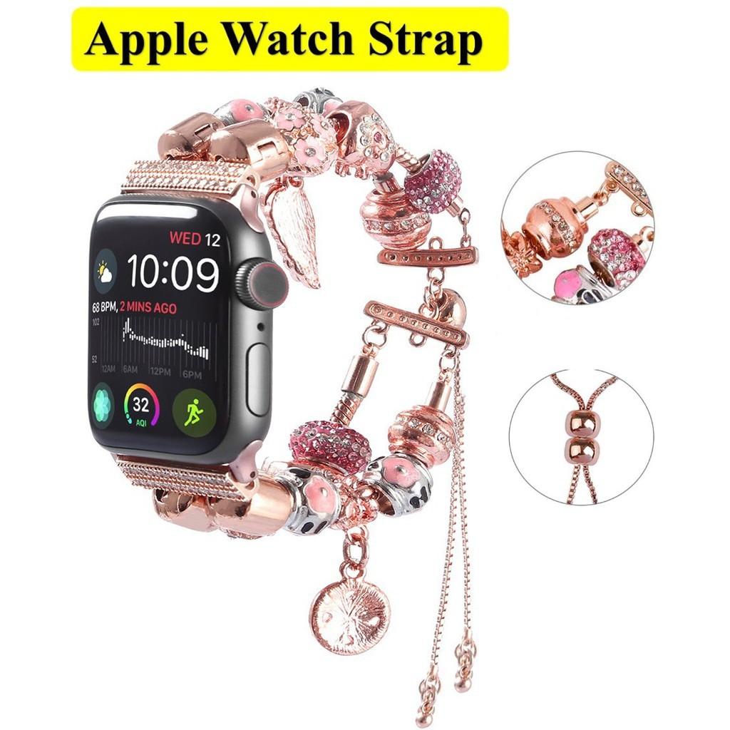 ✈✺ฟุ่มเฟือย เพชรพลอย สายนาฬิกา Apple Watch Straps เหล็กกล้าไร้สนิม Luxury Jewellery สาย Applewatch Series 6 5 4 3 Stain