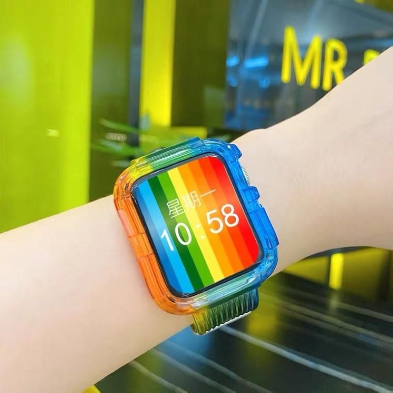 เคส applewatch พร้อมส่งจากไทย สาย สำหรับ Applewatch สาย ice world Steel  ใส่ได้ทั้ง 6 series SE/6/5/4/3/2/1 ขนาด 38/40 &