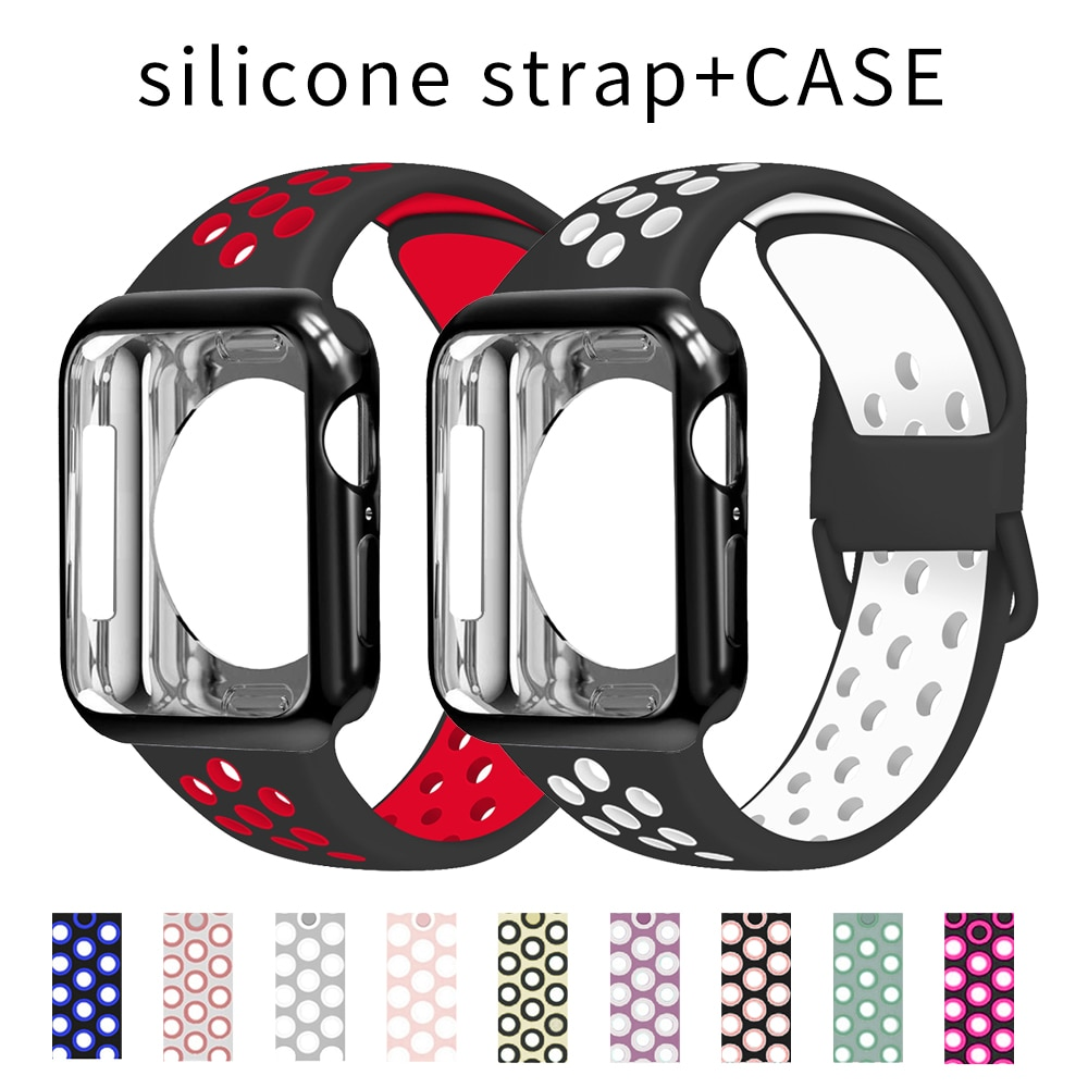 Case+Silicone Strap For Apple Watch band 40mm 44mm 38mm 42mm Rubber smartwatch watchband Sport bracelet iWatch series 3
