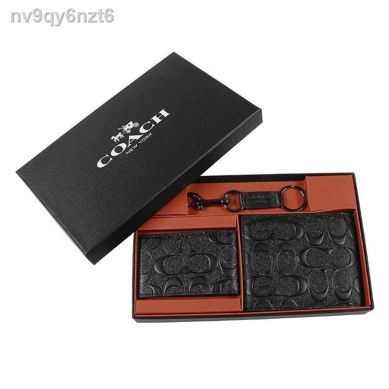 ¤พร้อมส่ง🔥 กระเป๋าสตางค์ใบสั้น COACH/COACH wallet กระเป๋าสตางค์ใบสั้นผู้ชายสุดหรู COACH/gift box brand F74993<กระเป๋าสต