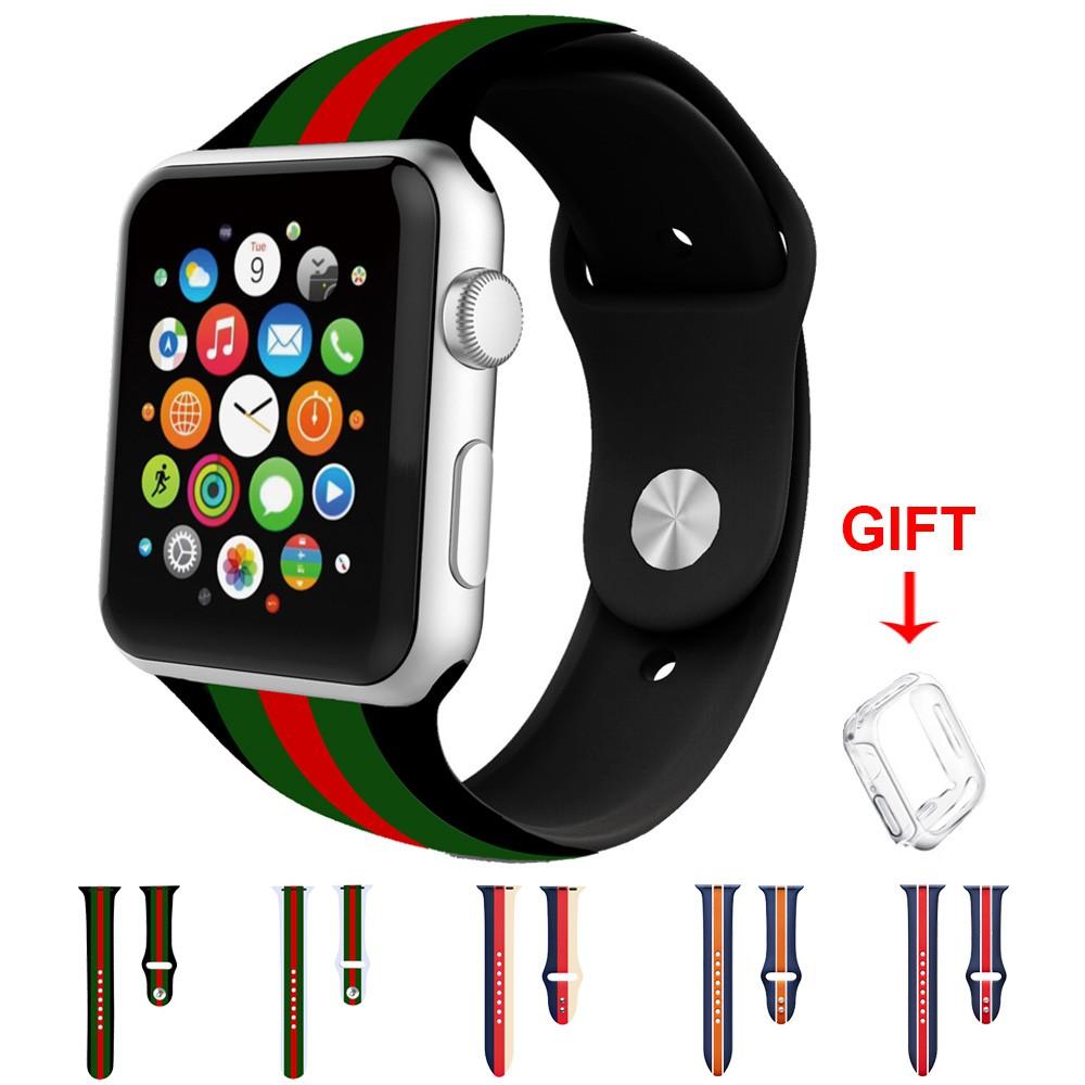 สายนาฬิกาข้อมือ สายซิลิโคน สําหรับ Apple Watch Series 6 5 4 3 2 1 Se