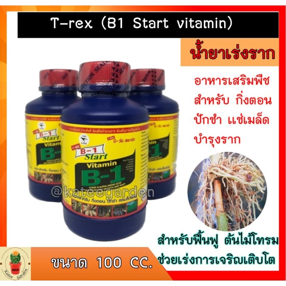 T-rex (B1 Start vitamin)อาหารเสริมพืช น้ำยาเร่งราก กิ่งตอน ปักชำ เเช่เมล็ด บำรุงราก ยาฟื้นฟูไม้ ไม้อวบน้ำ แคคตัส 100 cc.