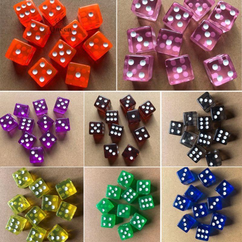 10 Translucent Colors Square Corne 10pcs 6-sided Game Dice Set