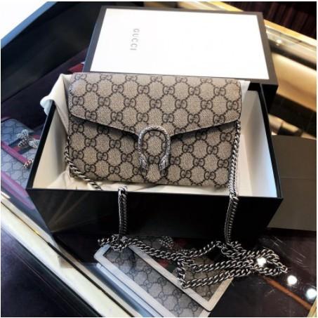 [VO]ของแท้ซื้อ Gucci Dionysus GG Supreme 401231 กระเป๋าแบ็คคัสสายโซ่กระเป๋าสะพาย WOC ลายจุด