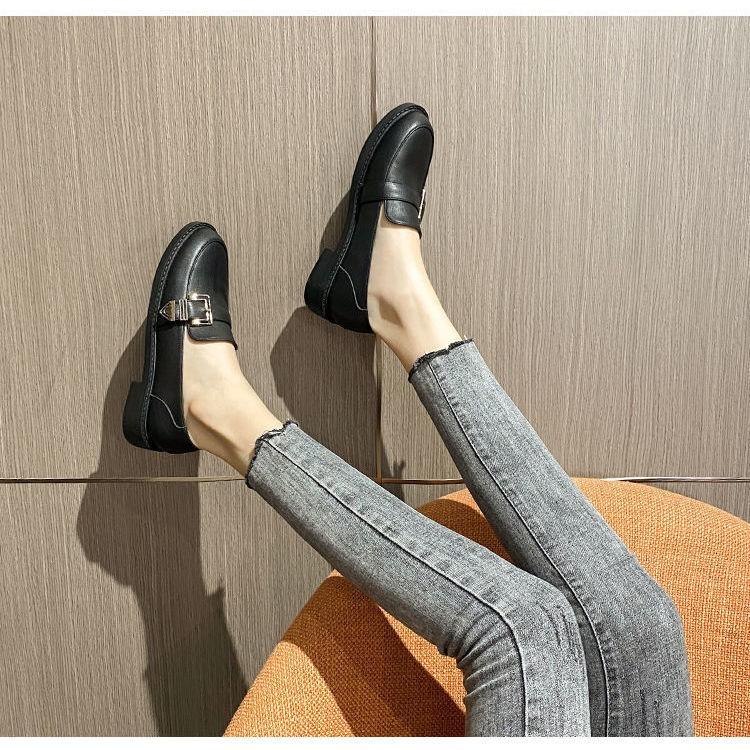 รองเท้าผู้หญิง รองเท้าคัชชู ☟อังกฤษลมย้อนยุครองเท้าหนังสีดำหญิง 2020 ฤดูใบไม้ร่วงใหม่ป่ารองเท้าเดียวหญิงหนึ่งเท้าแบนรองเ