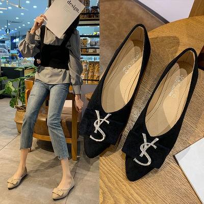 ❤️รองเท้าคัชชูผู้หญิงพื้นยางนิ่ม รองเท้าส้นแบนผู้หญิง, รองเท้าส้นแบนเกาหลีหัวแหลม