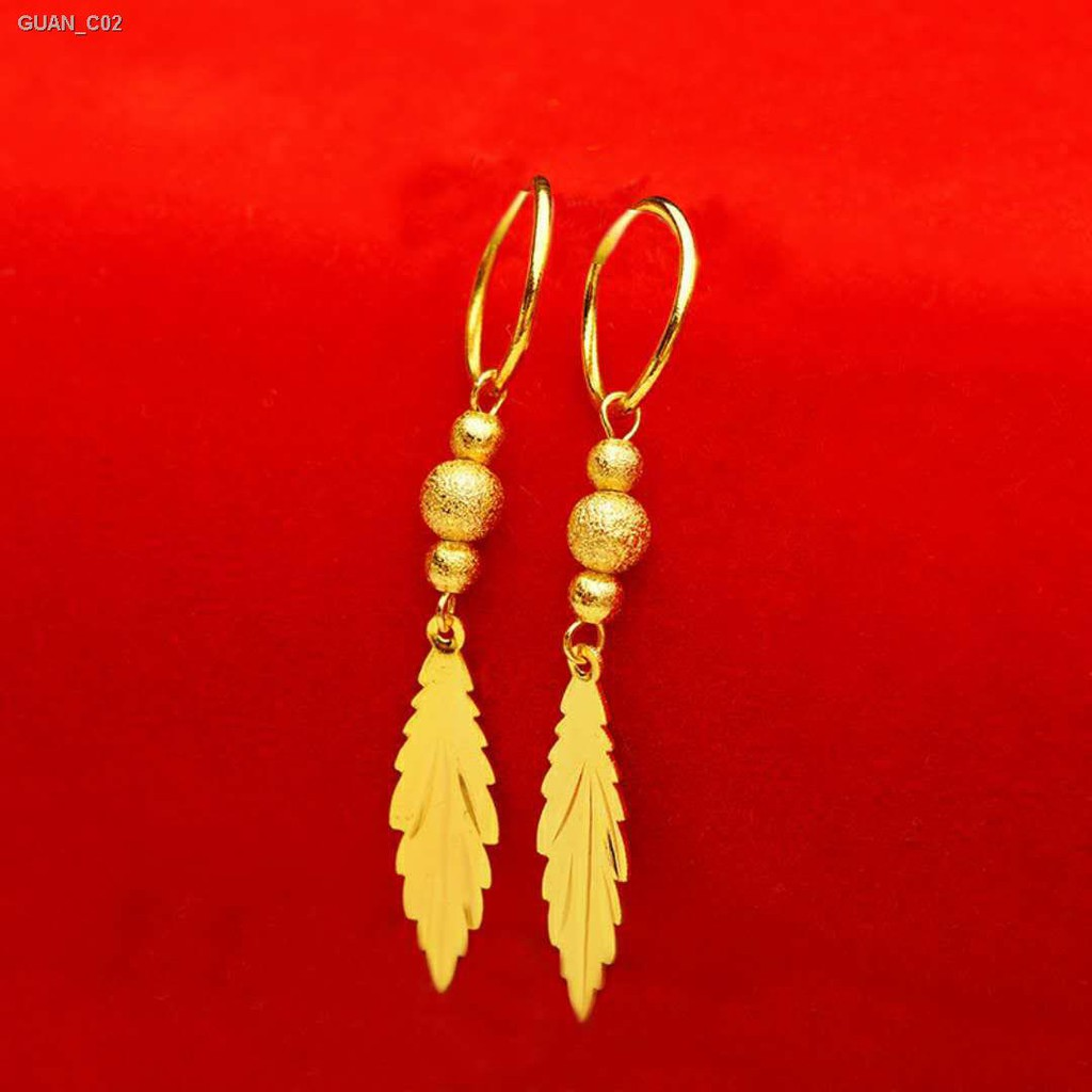 【ลดราคา】♛ทองคำขาวเวียดนาม ต่างหูผู้หญิงต่างหูต่างหูต่างหูลูกปัดโอนพู่ใบไม้ต่างหูไม่ซีดจางแพ้ง่าย