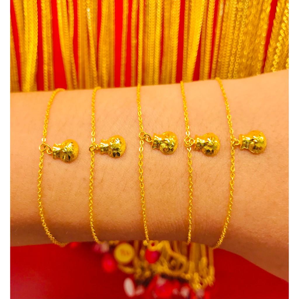 ข้อมือทองคำแท้ นำ้หนัก 1 กรัม  ลายถุงทอง ทองคำแท้ 96.5% มีใบรับประกันสินค้า น้ำหนักเต็ม ราคาโดนใจ