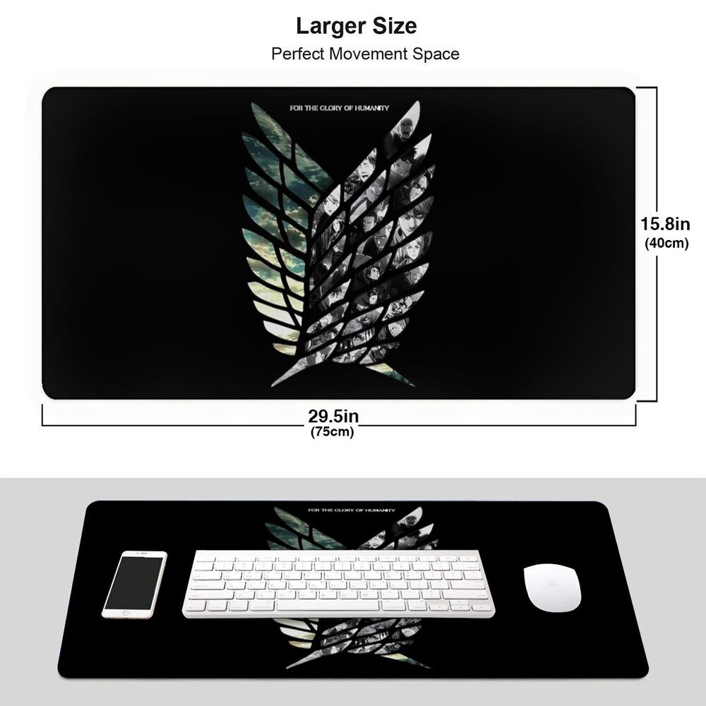 GUIJING Gaming Mouse Pad Best Attack On Titan 2 Logo Personalized Anti Slide Bottom Computer Game Desk Pad Desk Mat