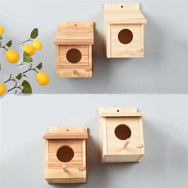 ที่รองรังนกแก้วกล่องไม้เพาะพันธุ์สัตว์เลี้ยง
