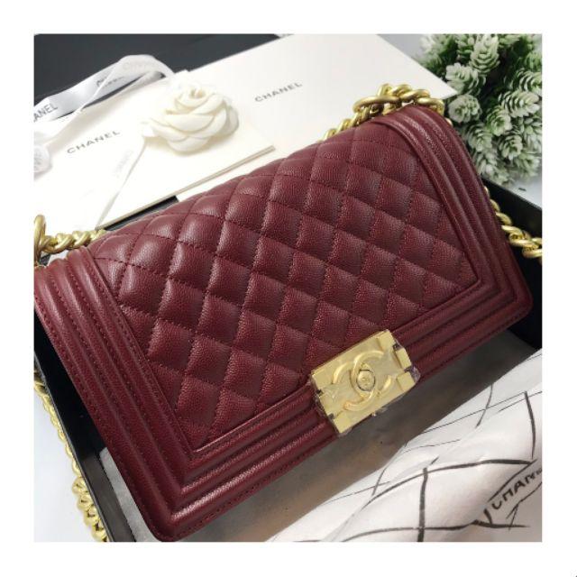 Chanel boy 10'' Burgundy Bag