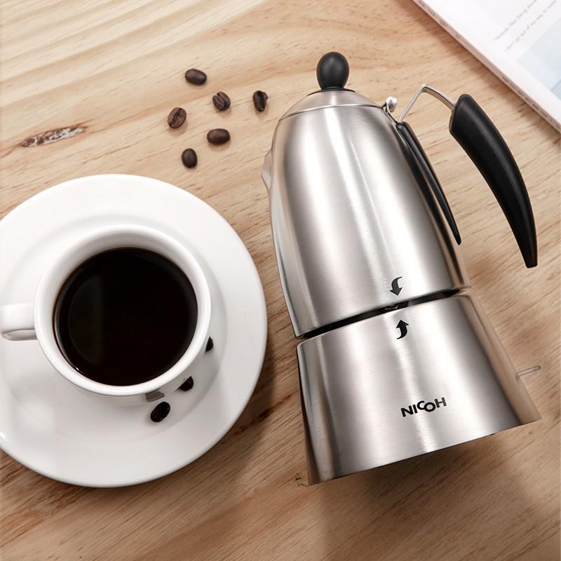 เตา moka pot□♛NICOH หม้อมอคค่าไฟฟ้า 2/4 คน เครื่องทำกาแฟเอสเพรสโซ่อัตโนมัติสำหรับ สำนักงานขนาดเล็กที่บ้าน