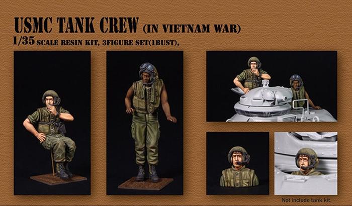 Unpainted Kit 1/35 ancient Tank Crew in Vietnam  Resin Figure miniature garage kit