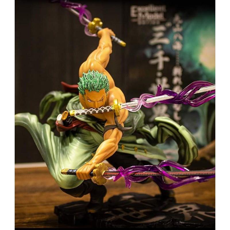 🔥18cm Anime Figure Toys One Piece Roronoa Zoro Santoryu SA-MAXIMUM Battle Ver. PVC Action Figure Toys