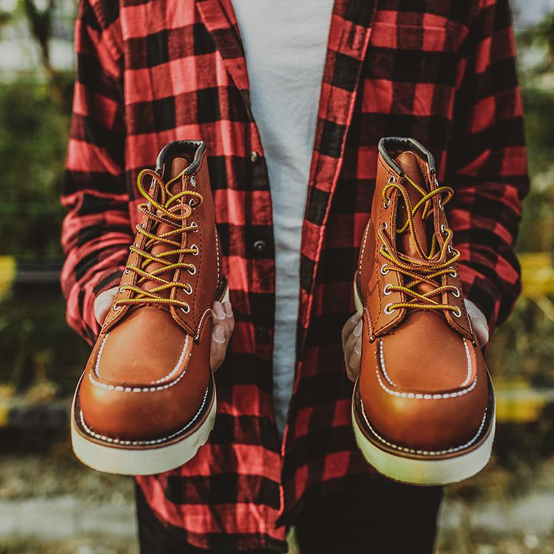 รองเท้าบูทสั้นผู้ชายปีกสีแดงหมิงred 875กู๊ดเยียร์อังกฤษwingรองเท้าหนังสูงด้านบนหัวรถจักรมาร์ตินรองเท้าขับรถรองเท้าสั้นรอ