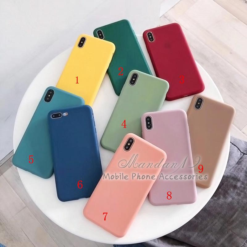 Review กรณี Casing Apple iPhone X XS XR XS Max Plain Rubber Matte Candy Soft Case Cover
