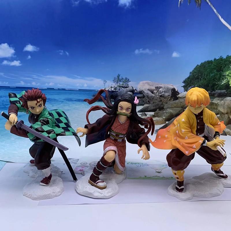 New 18 cm Kimetsu no Yaiba Nezuko Tanjirou Figure Zenitsu VC Action Figure Anime Demon Slayer Figurine Toys Sdex
