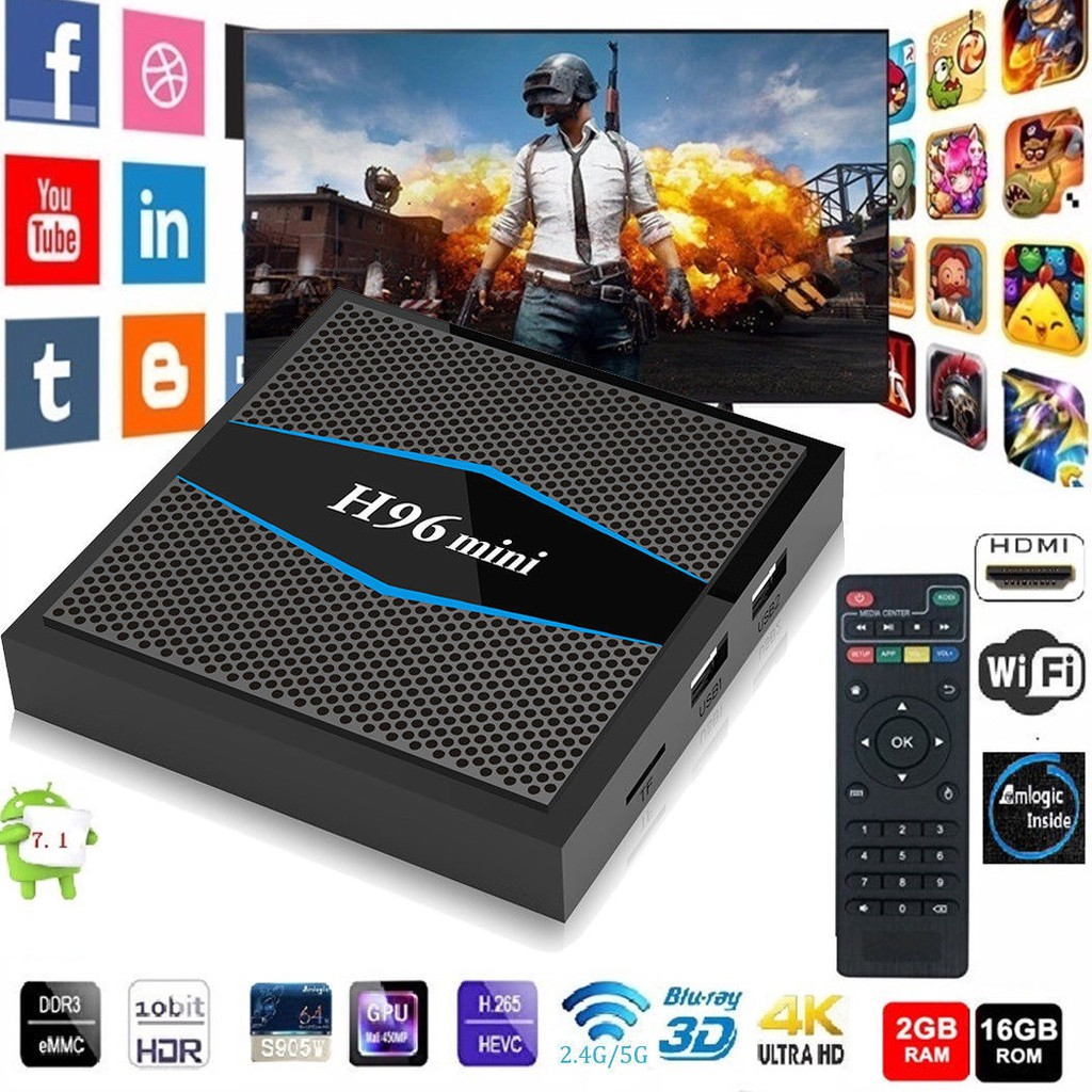 H96 Mini Android 7 1 Smart TV Box Amlogic S905W 2GB+16GB 4K HDMI BT Media  Player