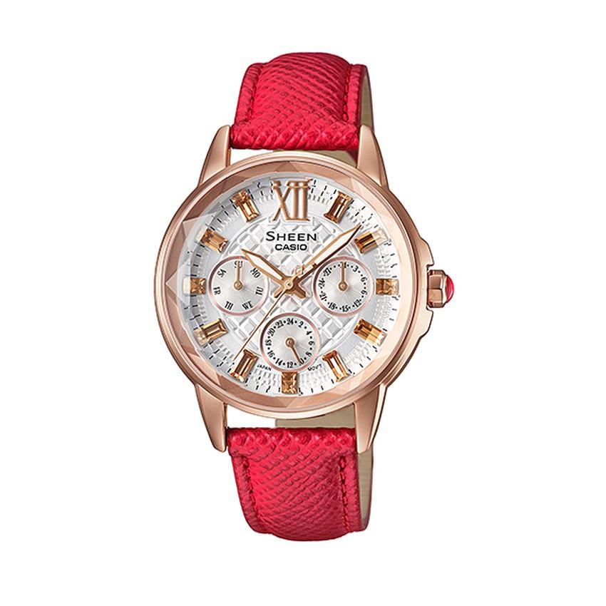 Casio Sheen นาฬิกาข้อมือสตรี เรือนสแตนเลส สายหนัง รุ่น SHE-3029PGL-7ADR - (หน้าขาว/โรสโกลด์)