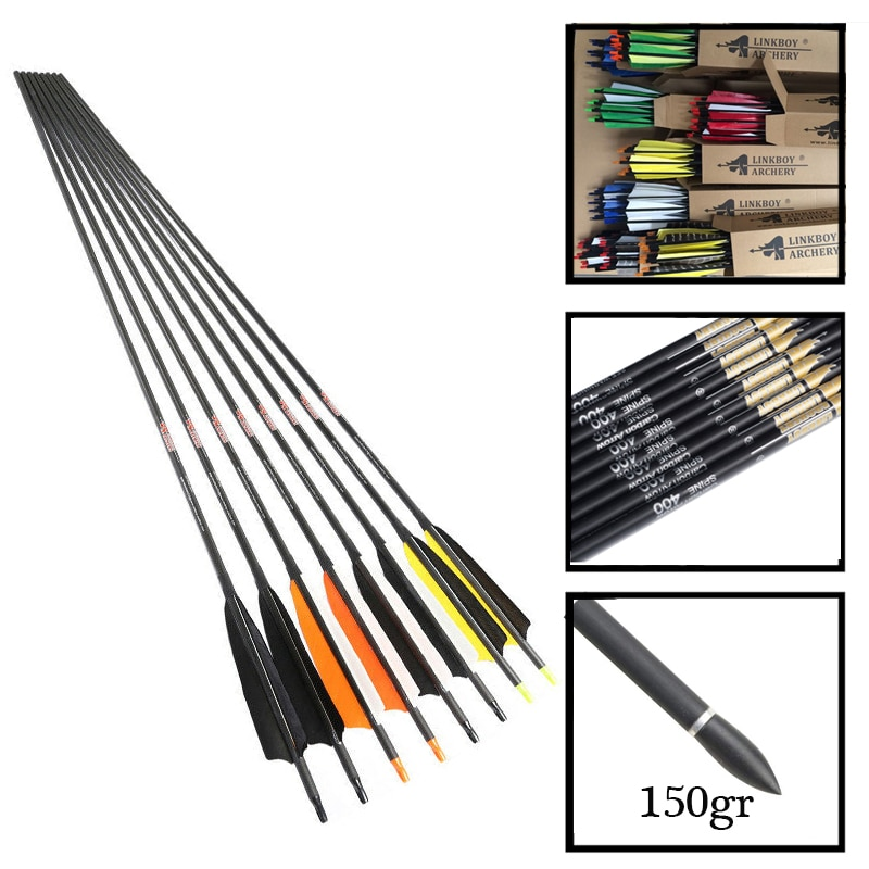 """6pcs 28/"""" SP500 Carbon Arrows 7.8mm Archery Tips For Compound//Recurve Bow Hunting"""