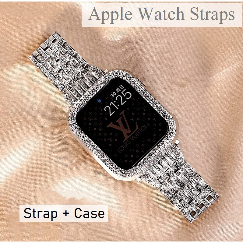 Luxury Diamonds Apple Watch Strap + Case Apple Watch 6 5 4 3, Apple Watch SE size 38mm 40mm 42mm 44mm Apple Watch Case a