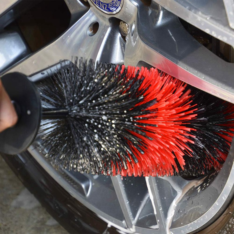 No Scratches Wheel Brush 18 Inches Soft Bristle Deep Detailing Cleaning Washing Wheels Rims Exhaust Tips Vehicle Engine Motorcycles