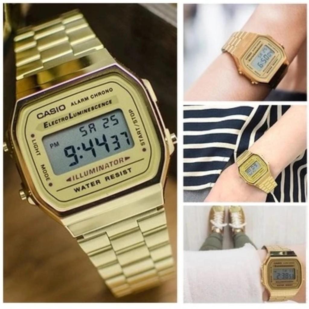 แท้ 100%Casio (ประกัน CMG ศูนย์เซ็นทรัล1ปี) นาฬิกาข้อมือ สายสแตนเลส รุ่น A168WG-9WDF - (สีทอง)