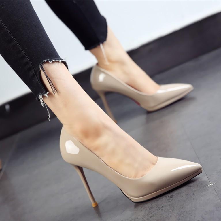 รองเท้าคัชชูส้นสูง หัวแหลม สไตล์เกาหลี สำหรับผู้หญิง