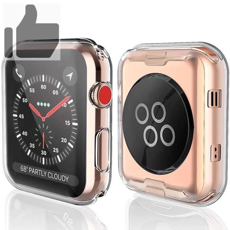 ✎♣⊙เคส สำหรับ AppleWatch case ขนาด 38 มม. 40 42 44 ซิลิโคนอ่อนนุ่มหุ้มใสสำหรับ iWatchSeries 6/5/4/3/2/1