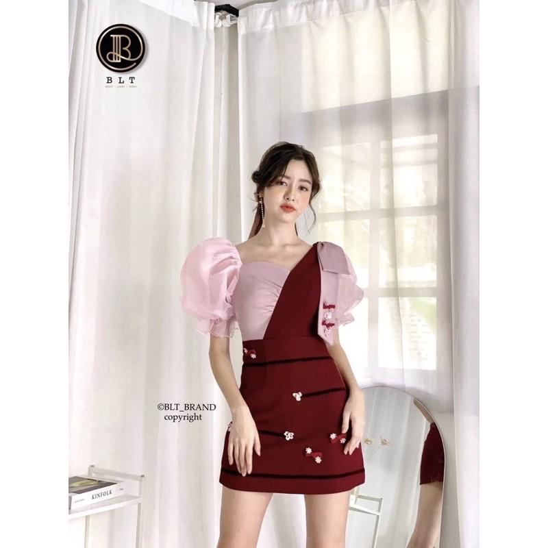 📌ป้าย BLT Brand เดรสสีแดงไวน์/ชมพู XS S M L