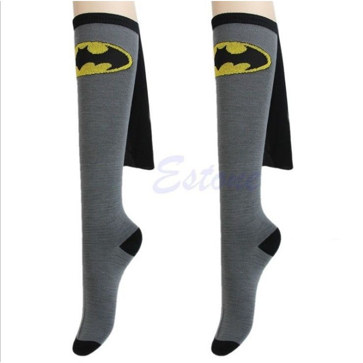 Unisex Super Hero Superman Batman Knee High With Cape Soccer Cosplay Socks HOT