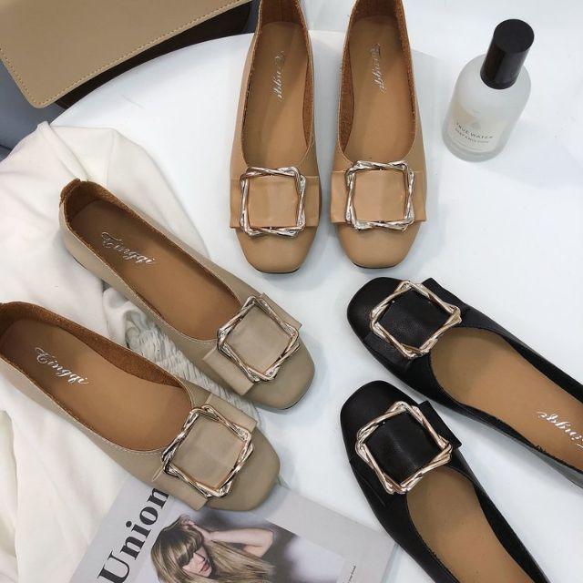แฟชั่นส้นแบน ส้นเตี้ย รองเท้าแฟชั่น รองเท้าคัชชูผู้หญิง รองเท้าคัชชูสีดำ รองเท้าผู้หญิง รองเท้าคัชชู รองเท้าหุ้มส้น สวย