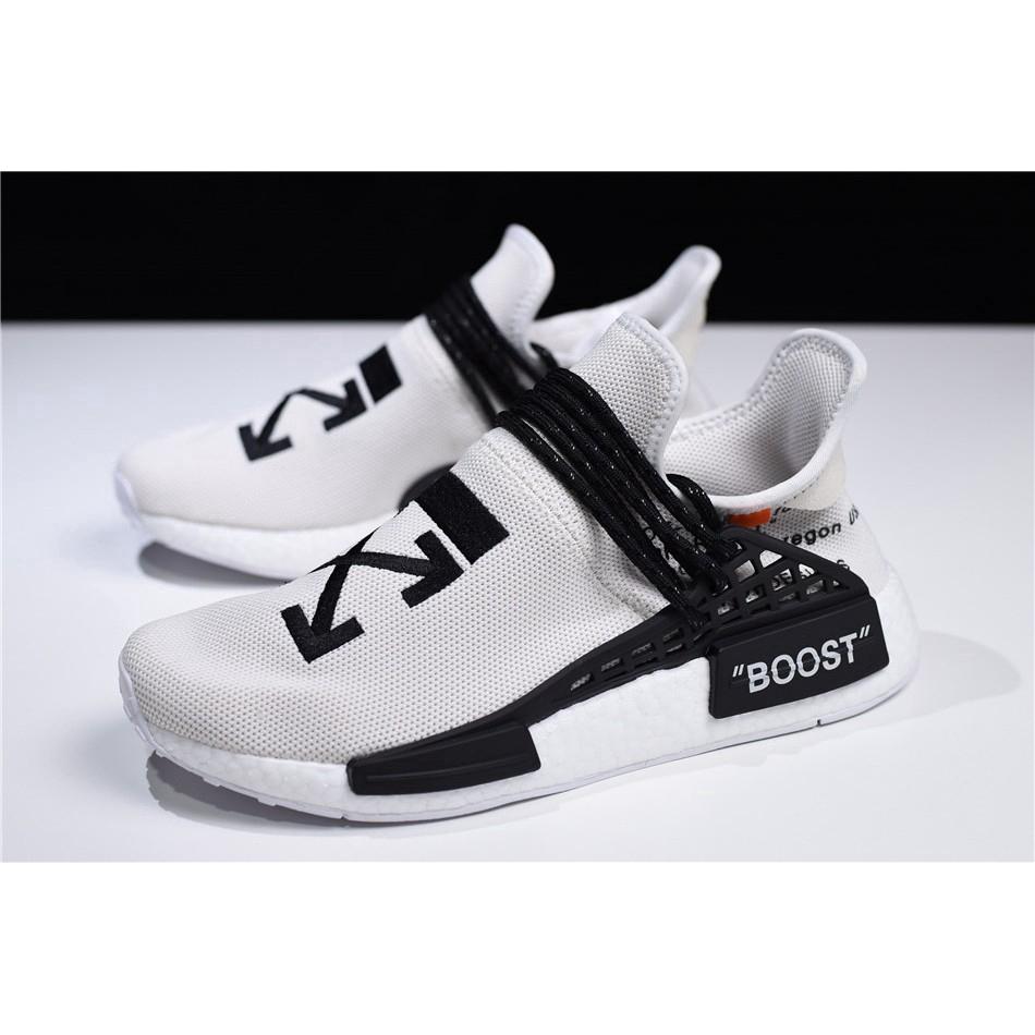 ยิงจริง OFF-WHITE x Pharrell x adidas NMD Hu Race Trail รองเท้าวิ่งกีฬาสีเทา / ดำ - ขาวแบบสบาย ๆ