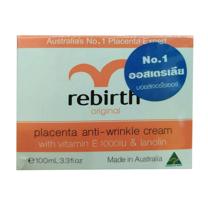 Rebirth Placenta Anti-Wrinkle Cream With Vitamin E 1000iu & Lanolin 100ml
