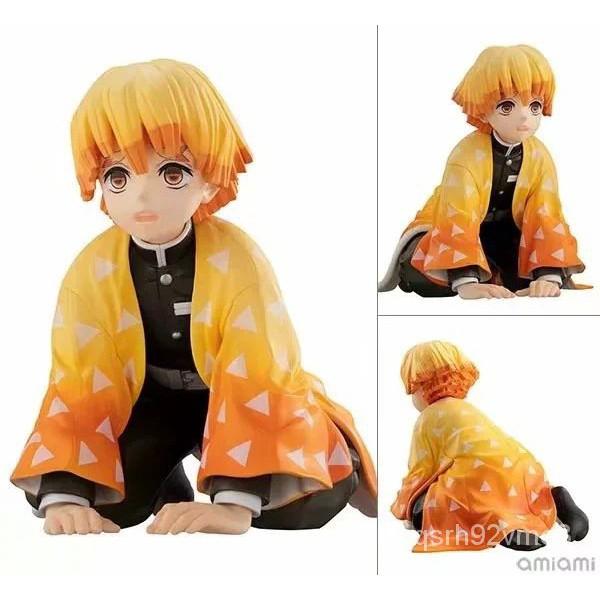 Anime Figure Demon Slayer Kimetsu No Yaiba Agatsuma Zenitsu Sitting osition Action Figure VC Collectible Model Toys Gift