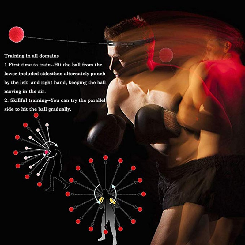 Boxing Reflex Speed Punch Ball,MMA Sanda Boxer Raising Reaction Force Hand Eye Training Set Stress Gym Boxing Muay Thai Exercise