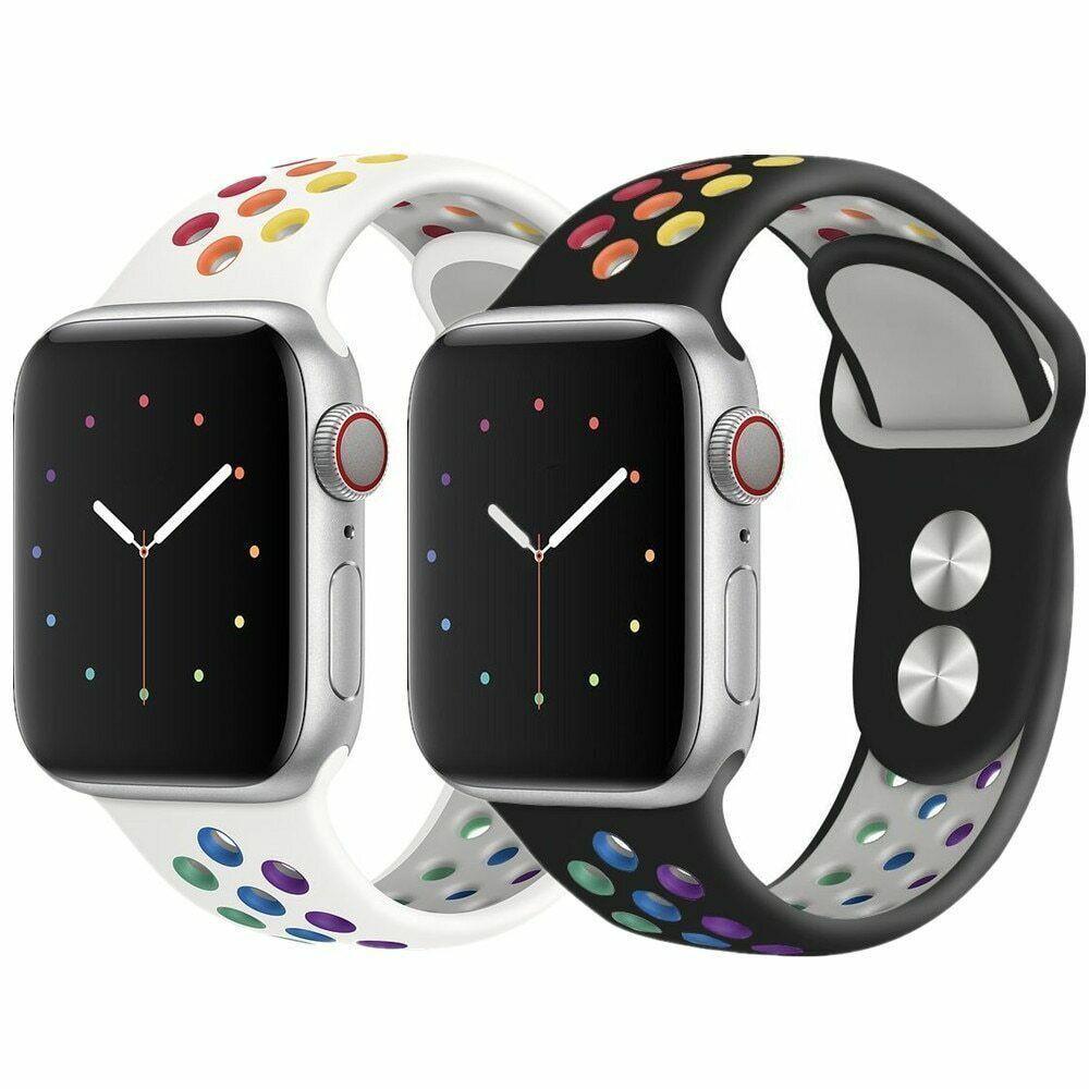 สายนาฬิกาข้อมือซิลิโคนระบายอากาศสําหรับ Applewatch Se1-6