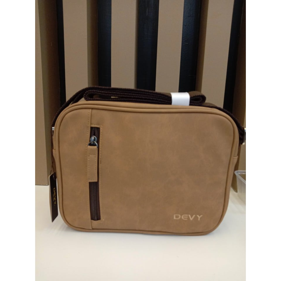 กระเป๋าสะพายข้าง DEVY ทรงยาวสีแทน