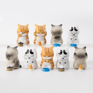 9PCS/Lot 5CM Anime Pet Cat Figurine Models Cute Funny Kitten Animal Mini Figures Toys Decoration Collection Dolls for Ki