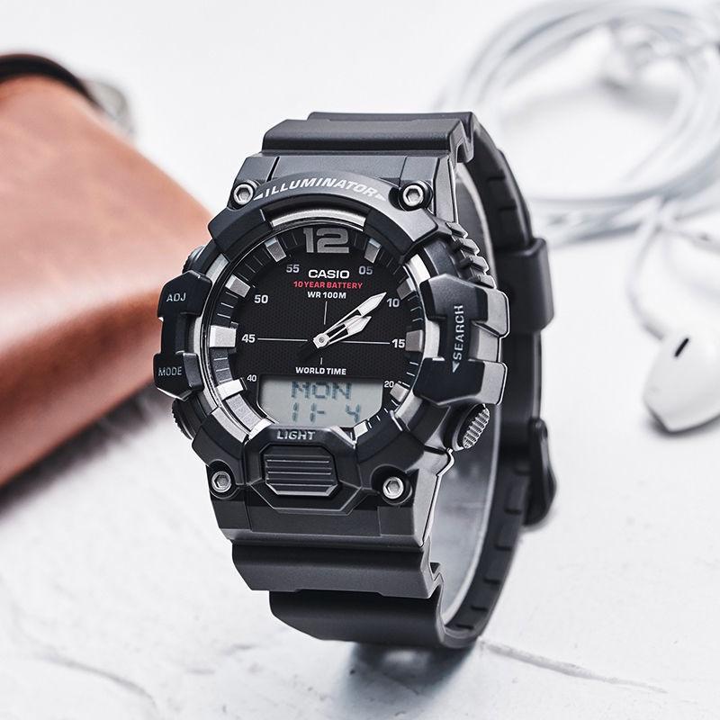 y♚♤นาฬิกา Casio Casio ตัวผู้ 10 ปี power pointer ดิจิตอล นาฬิกาสปอร์ตสองจอ HDC-700-9A