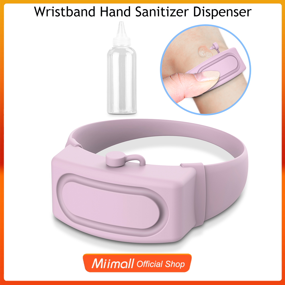 เครื่องจ่ายน้ำยาล้างมือด้วยสายรัดข้อมือแบบพกพา สายรัดข้อมือใส่เจลล้างมือ สำหรับ เด็ก ผู้ใหญ่ ที่เก็บของเหลวแบบเติมซิลิโค