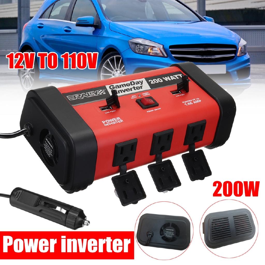 200W Mini Car Vehicle Inverter DC 12V to AC 220V High-power Power Inverter Black