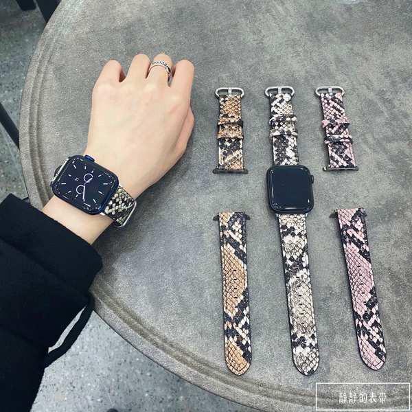 สาย applewatch เหมาะสำหรับ applewatch สายหนังงูพิมพ์บุคลิกภาพสายหนังง่าย iwatch123456 รุ่น SE