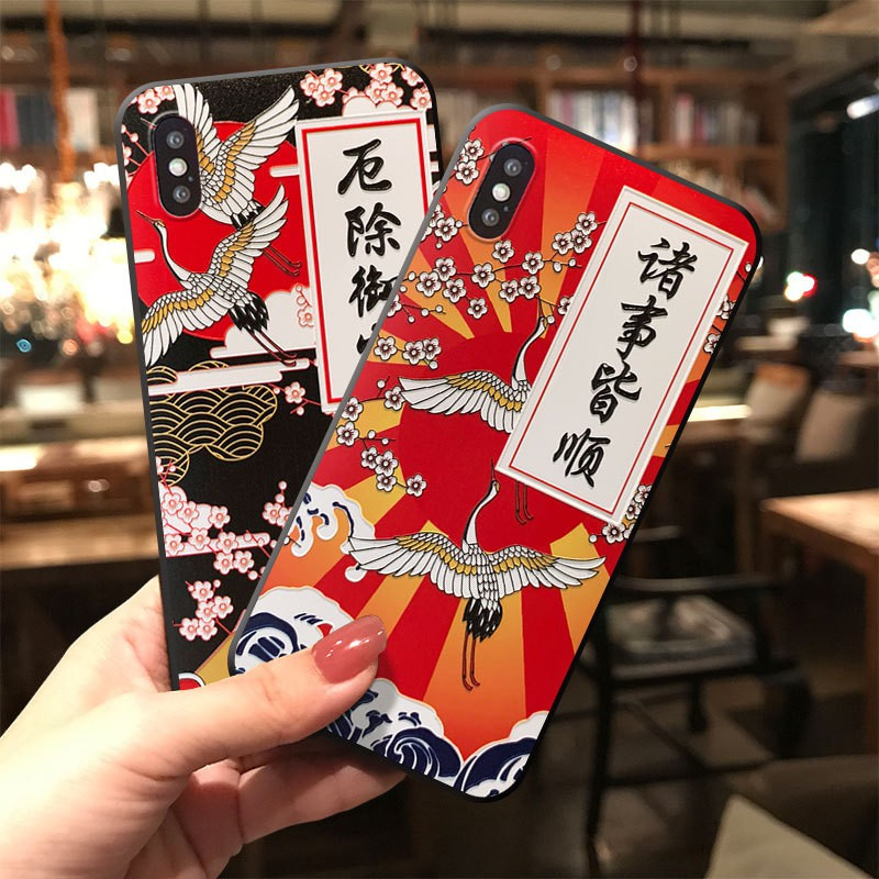 Red Sun Double Crane Applicable to Apple 11 Embossed Protective Case iphonex Original Antiquity mate30 Anti-fall Tpu Sof