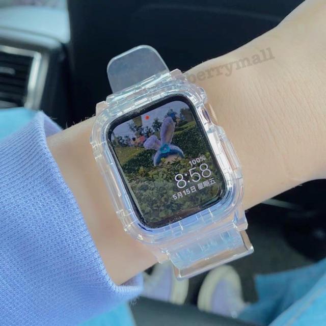 สายนาฬิกาข้อมือซิลิโคนแบบนุ่มสําหรับ applewatch6  5 4 3 38 มิลลิเมตร 42 มิลลิเมตร 2in1 เคส AppleWatch สาย AppleWatch