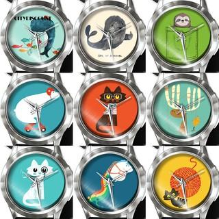 BLUE2❀Cute Cartoon Animals Unicorn Cat Whale Cat Women Kids Analog Quartz Wrist Watch