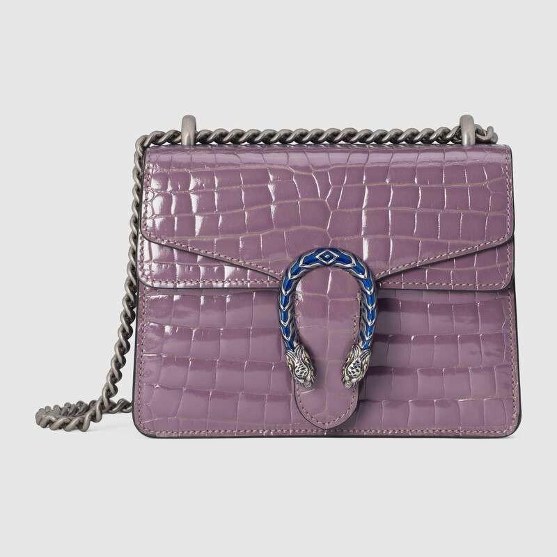 ใหม่ Gucci Dionysus ซีรีส์กระเป๋าถือหนังจระเข้ขนาดเล็ก 20 ซม. สีม่วงอ่อน