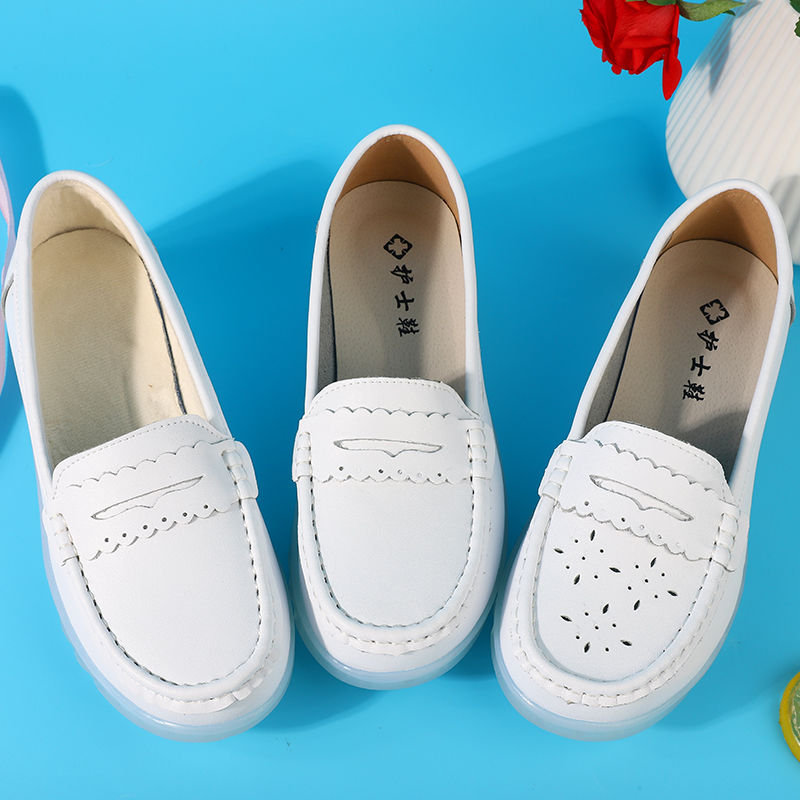 รองเท้าคัชชูส้นเตารีด รองเท้าพยาบาลหญิงลิ่มสีขาวด้านล่างนุ่มรองเท้าสีขาวรองเท้าทำงานรองเท้าเดียวรองเท้าสีดำระบายอากาศรอง
